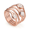 Rose Gold Vermeil Siren Cluster Cocktail Ring - Rose Quartz - Monica Vinader