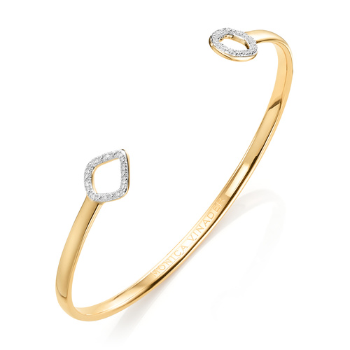 Gold Vermeil Riva Mini Kite and Mini Circle Diamond Cuff - Diamond - Monica Vinader