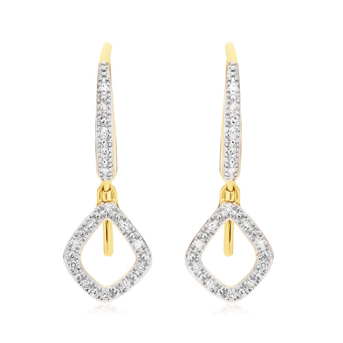 Gold Vermeil Riva Mini Kite Drop Diamond Earrings - Diamond - Monica Vinader