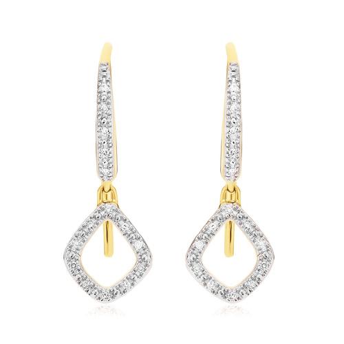Gold Vermeil Riva Mini Kite Drop Diamond Earrings - Diamond - Monica Vinader