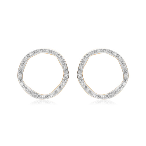 Gold Vermeil Riva Large Circle Stud Diamond Earrings - Diamond - Monica Vinader