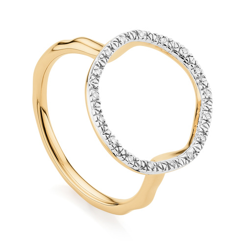 Gold Vermeil Riva Circle Diamond Ring - Diamond - Monica Vinader