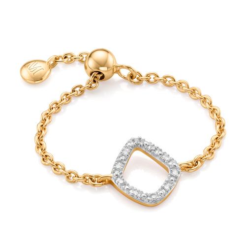 Gold Vermeil Riva Mini Kite Adjustable Friendship Diamond Ring - Diamond - Monica Vinader