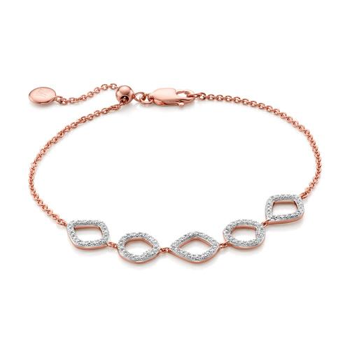 Rose Gold Vermeil Riva Mini Cluster Diamond Bracelet - Diamond - Monica Vinader