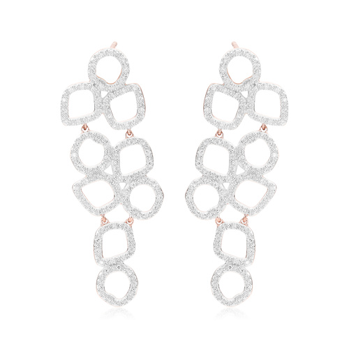 Rose Gold Vermeil Riva Cluster Cocktail Diamond Earrings - Diamond - Monica Vinader