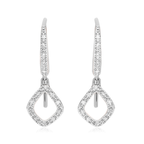 Sterling Silver Riva Mini Kite Drop Diamond Earrings - Diamond - Monica Vinader