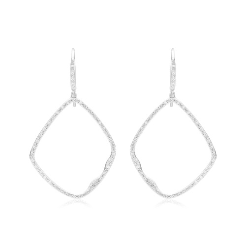 Sterling Silver Riva Large Hoop Cocktail Diamond Earrings - Diamond - Monica Vinader