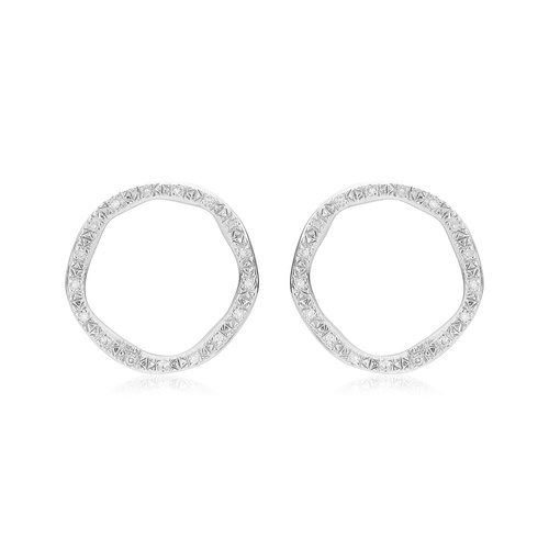Sterling Silver Riva Large Circle Stud Diamond Earrings - Diamond - Monica Vinader
