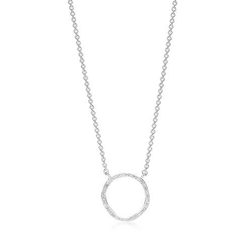 Sterling Silver Riva Circle Diamond Necklace - Diamond - Monica Vinader
