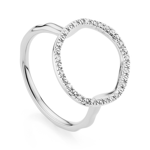 Sterling Silver Riva Circle Diamond Ring - Diamond - Monica Vinader