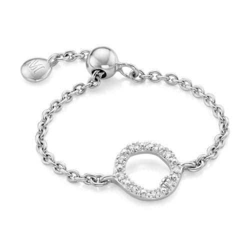 Sterling Silver Riva Mini Circle Adjustable Friendship Diamond Ring - Diamond - Monica Vinader