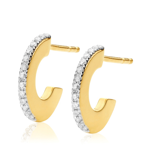 Gold Vermeil Naida Small Hoop Earrings - Diamond - Monica Vinader
