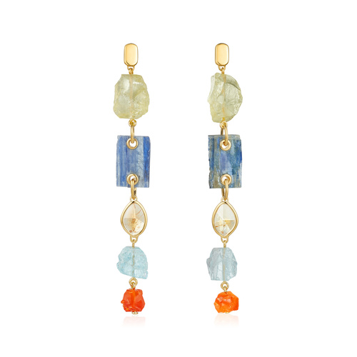 Gold Vermeil Gemstone Cocktail Earrings - Monica Vinader