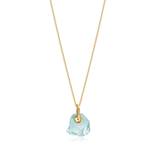 Gold Vermeil Caroline Issa Gemstone Pendant Adjustable Necklace - Aquamarine - Monica Vinader