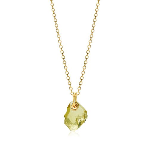 Gold Vermeil Gemstone Large Pendant Adjustable Necklace  - Lemon Quartz - Monica Vinader
