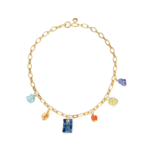 Gold Vermeil Caroline Issa Gemstone Necklace - Mix - Monica Vinader