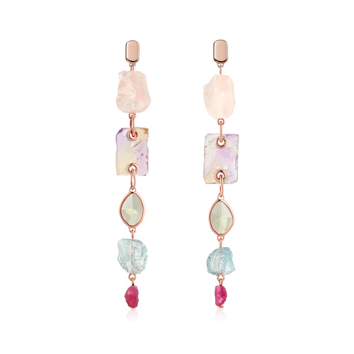 Rose Gold Vermeil Gemstone Cocktail Earrings - Monica Vinader