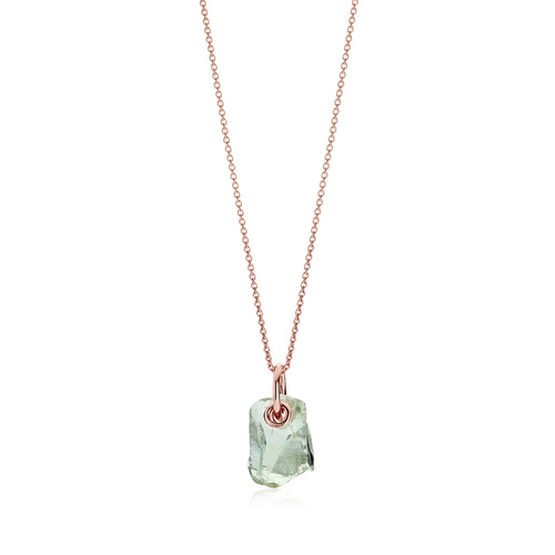 Rose Gold Vermeil Caroline Issa Gemstone Pendant Adjustable Necklace - Green Amethyst - Monica Vinader