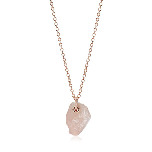 Rose Gold Vermeil Caroline Issa Gemstone Large Pendant Adjustable Necklace  - Rose Quartz - Monica Vinader