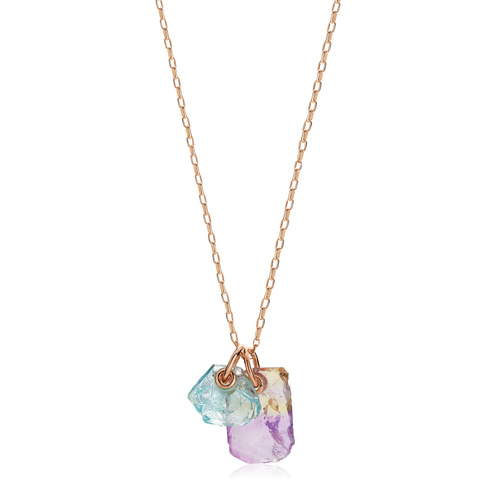 Rose Gold Vermeil Gemstone Double Pendant Adjustable Necklace - Monica Vinader