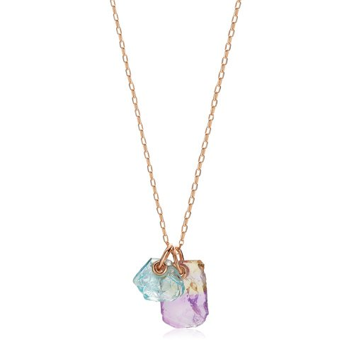 Rose Gold Vermeil Caroline Issa Gemstone Double Pendant Adjustable Necklace - Monica Vinader