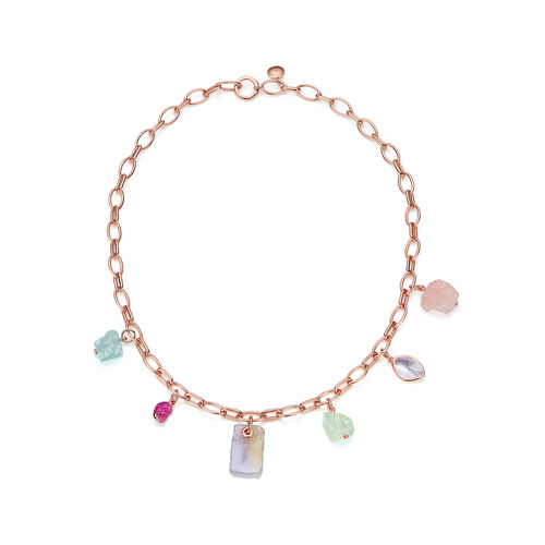 Rose Gold Vermeil Caroline Issa Gemstone Necklace - Mix - Monica Vinader