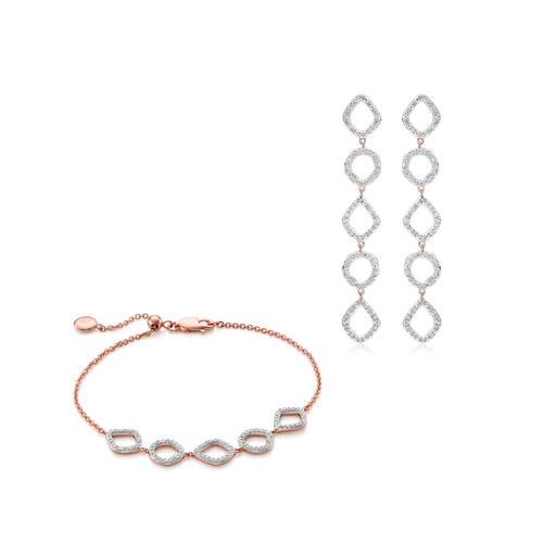 Riva Mini Cluster Cocktail Earring and Bracelet Diamond Set - Monica Vinader