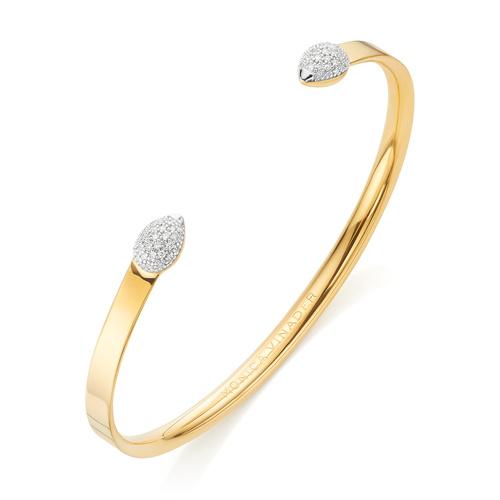 Gold Vermeil Fiji Bud Diamond Cuff - Diamond - Monica Vinader