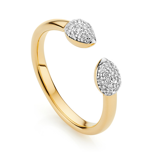 Gold Vermeil Fiji Bud Stacking Diamond Ring - Diamond - Monica Vinader
