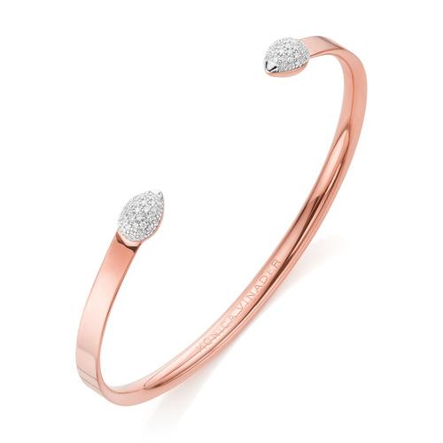 Rose Gold Vermeil Fiji Bud Diamond Cuff - Diamond - Monica Vinader