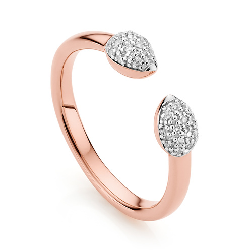 Rose Gold Vermeil Fiji Bud Stacking Diamond Ring - Diamond - Monica Vinader
