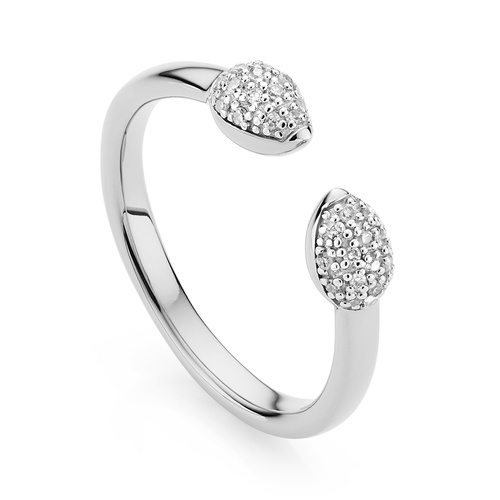 Sterling Silver Fiji Bud Stacking Diamond Ring - Diamond - Monica Vinader