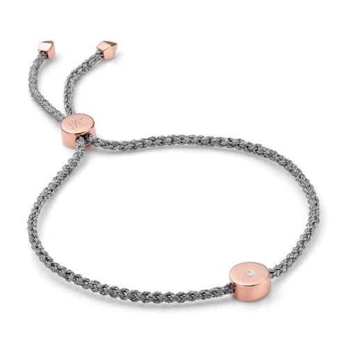 Rose Gold Vermeil Linear Solo Friendship Diamond Bracelet - Silver Metallica Cord - Diamond - Monica Vinader