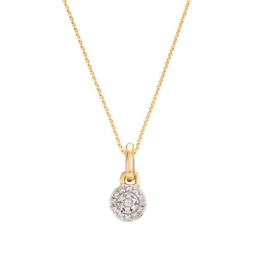 Fiji Mini Button Diamond Pendant Charm Necklace Set - Monica Vinader
