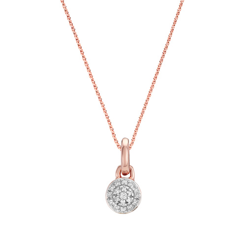Fiji Mini Button Diamond Pendant Charm Necklace Set - Monica Vinader