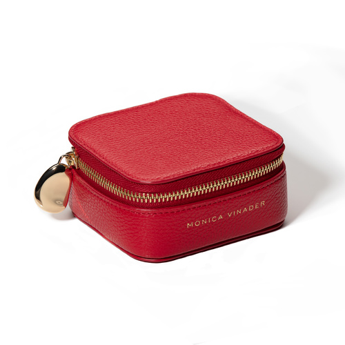 Leather Personalised Leather Trinket Box with dustbag - Red - Monica Vinader