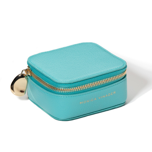 Personalised Leather Trinket Box - Turquoise - Monica Vinader