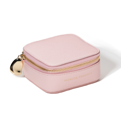 Leather Personalised Leather Trinket Box with dustbag - Pale Pink - Monica Vinader