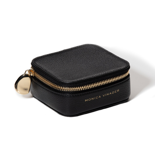Leather Personalised Leather Trinket Box with dustbag - Black - Monica Vinader