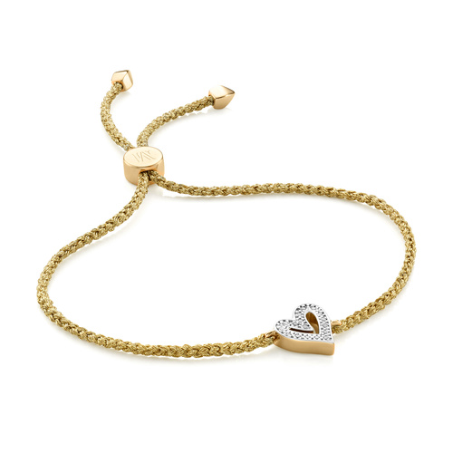 Gold Vermeil Alphabet Heart Diamond Friendship Bracelet - LIMITED EDITION - Diamond - Monica Vinader