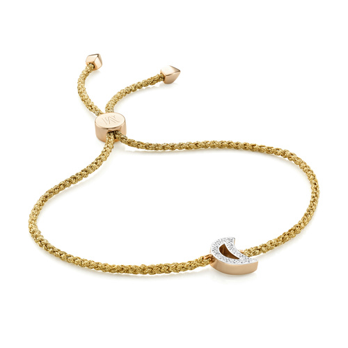 Gold Vermeil Alphabet Moon Diamond Friendship Bracelet - Diamond - Monica Vinader
