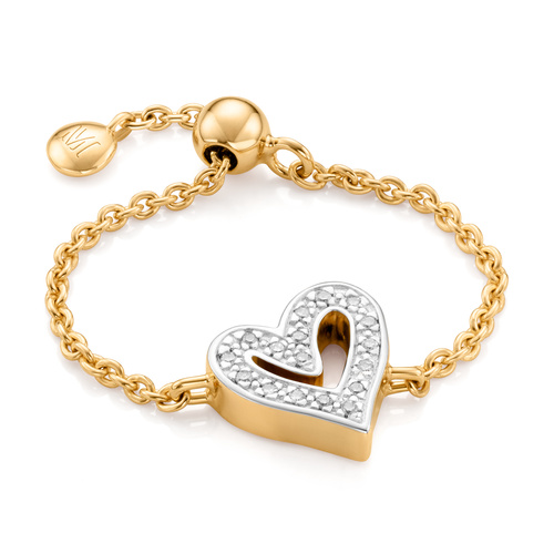 Gold Vermeil Alphabet Heart Adjustable Friendship Diamond Ring - LIMITED EDITION - Diamond - Monica Vinader