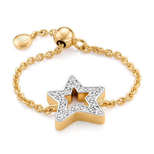 Gold Vermeil Alphabet Star Adjustable Friendship Diamond Ring - LIMITED EDITION - Diamond - Monica Vinader