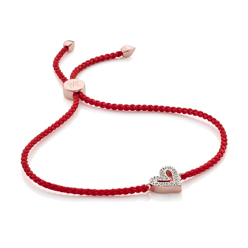Rose Gold Vermeil Alphabet Heart Diamond Friendship Bracelet - LIMITED EDITION - Diamond - Monica Vinader