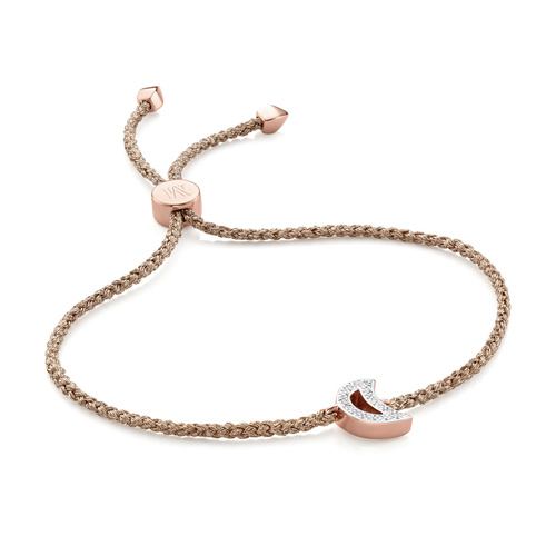 Rose Gold Vermeil Alphabet Moon Diamond Friendship Bracelet - Diamond - Monica Vinader