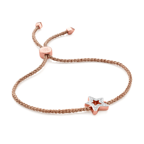 Rose Gold Vermeil Alphabet Star Diamond Friendship Bracelet - LIMITED EDITION - Diamond - Monica Vinader