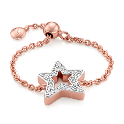 Rose Gold Vermeil Alphabet Star Adjustable Friendship Diamond Ring - LIMITED EDITION - Diamond - Monica Vinader