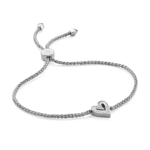 Sterling Silver Alphabet Heart Diamond Friendship Bracelet - LIMITED EDITION - Diamond - Monica Vinader
