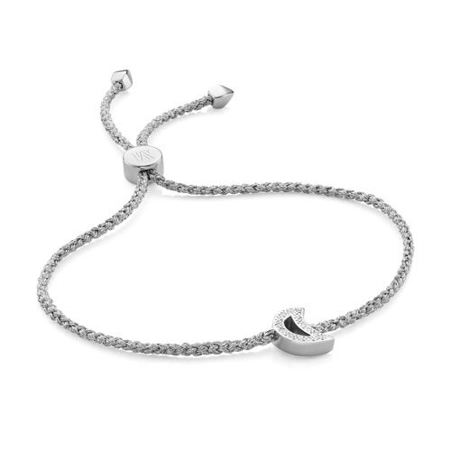 Sterling Silver Alphabet Moon Diamond Friendship Bracelet - Diamond - Monica Vinader