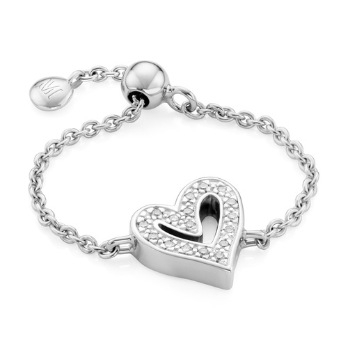 Sterling Silver Alphabet Heart Adjustable Friendship Diamond Ring - Diamond - Monica Vinader